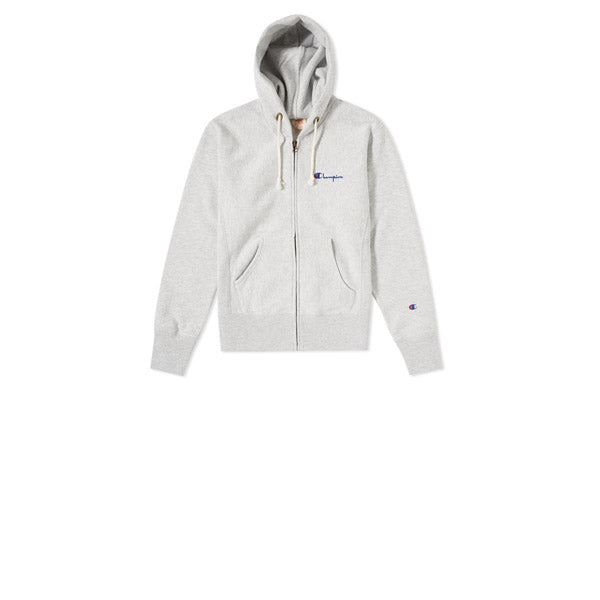 Champion Script Hooded Full Zip Sweatshirt Grey