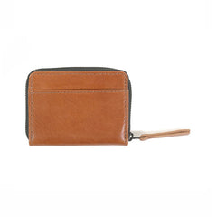 WOOD WOOD Card Zip Wallet Brown Leather - Kong Online - 2