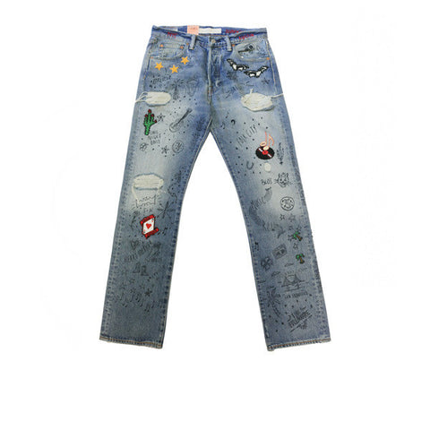 Levis 501 Original Fit Scribble Jean Blue