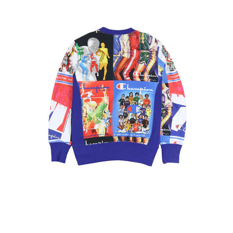 Champion Print Crewneck Sweatshirt Blue