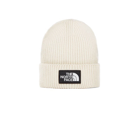 The North Face Logo Box Cuff Beanie Vintage White