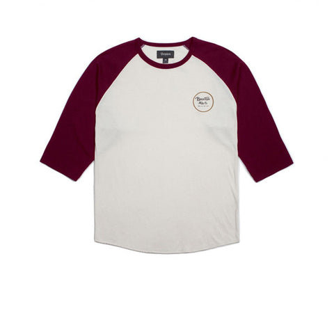 Brixton Wheeler Off 3/4 Sleeve Off White Maroon