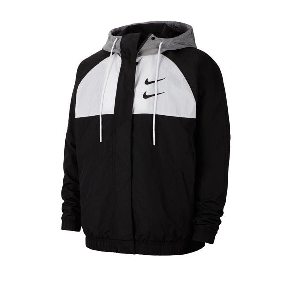 Nike Swoosh Woven Jacket Black White Particle Grey