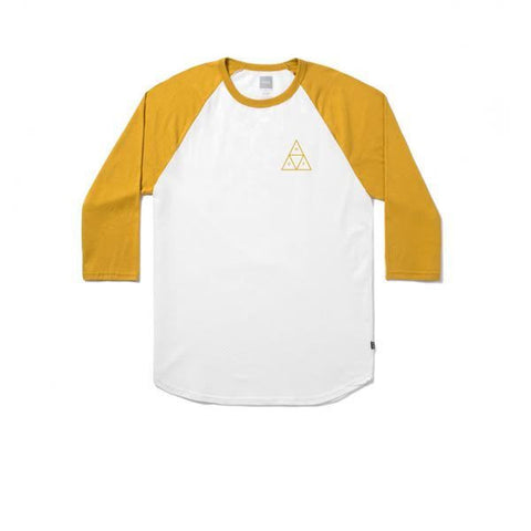 HUF Triple Triangle Raglan White Mustard