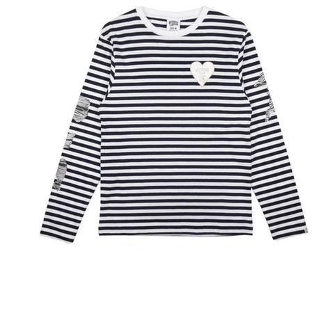 BBC Damage Stripe L/S T-Shirt White Navy