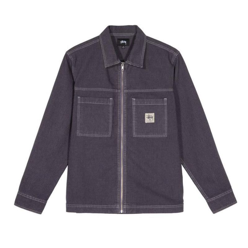 Stussy Overdyed Hickory L/S Zip Shirt Purple