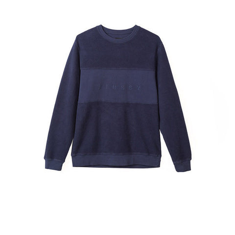Stussy Reverse Fleece Panel Crew Navy