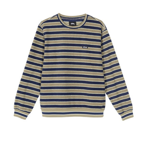 Stussy Striped Polar Fleece Crew Olive