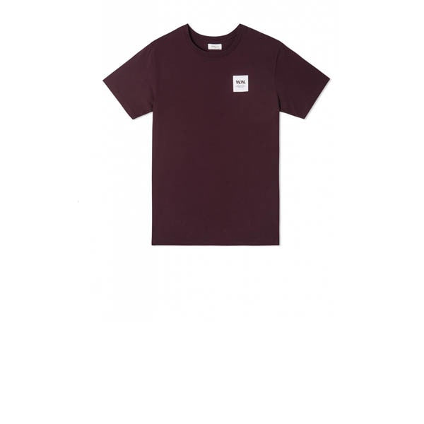 WOOD WOOD WW Box Logo T-Shirt Burgundy