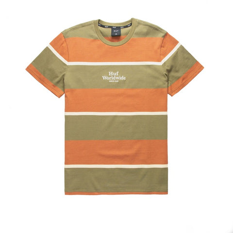 HUF Mazon Stripe S/S Knit Top Martini Olive