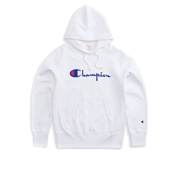 Champion Emb Logo Script Hooded Sweat White