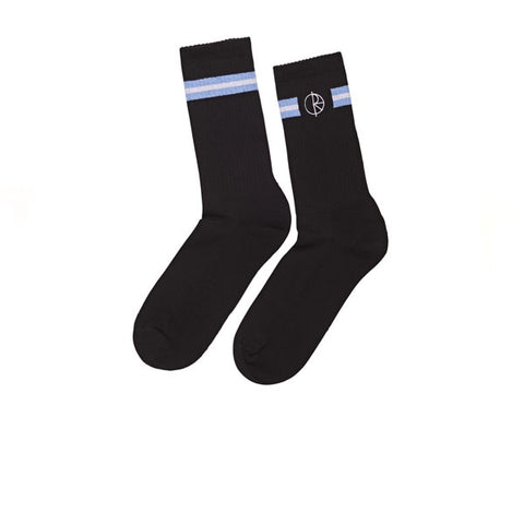 Polar Stroke Logo Socks Black Dusty Blue