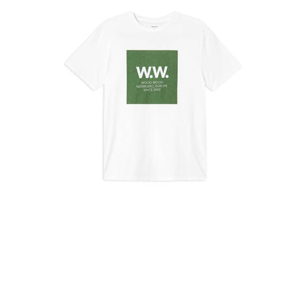 WOOD WOOD WW Square T-Shirt Bright White Green