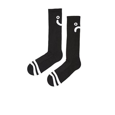 Polar Upside Down Happy Sad Sock Black