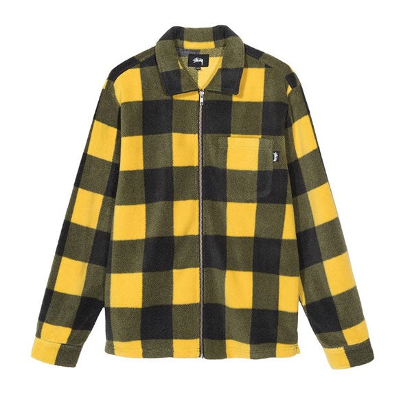 Stussy Polar Fleece Zip Up Shirt Yellow