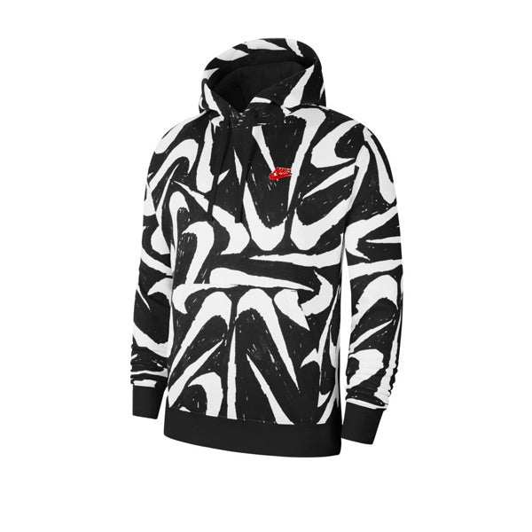 Nike AOP Swoosh PO Hoodie Black Black University Red