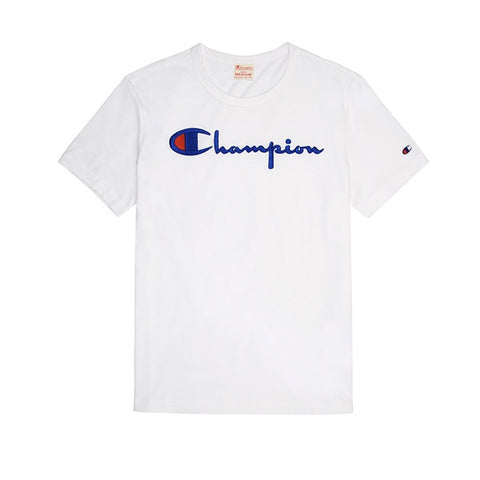 Champion Emb Script Logo Crew Neck T-Shirt White