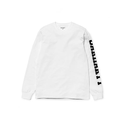 Carhartt LS College Left LT T Shirt White Black - Kong Online