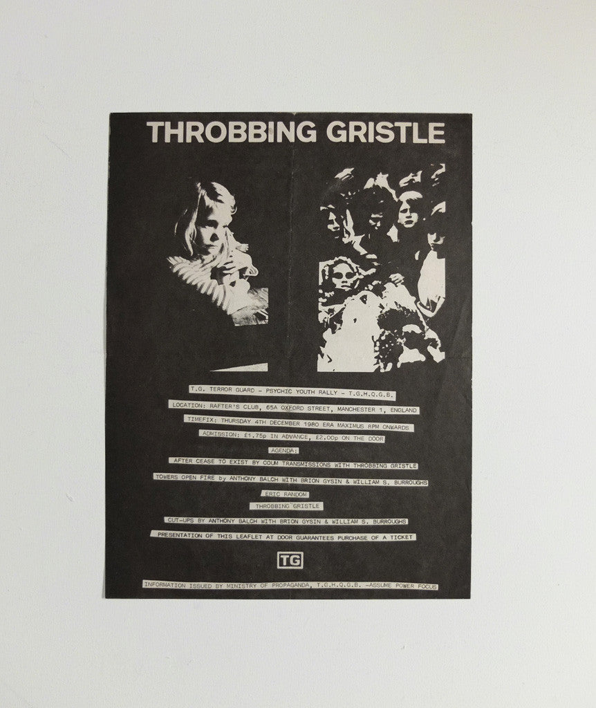 Throbbing Gristle at the Rafter's Club poster, 1980