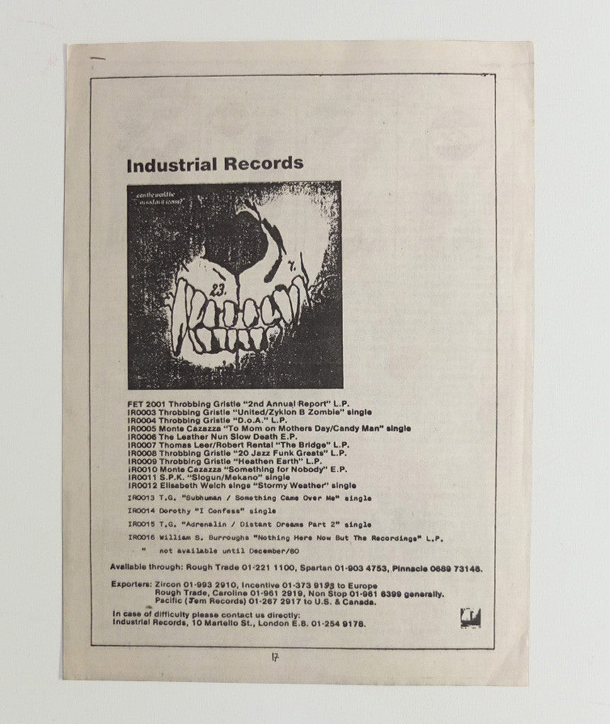 Industrial Records stapled flyer