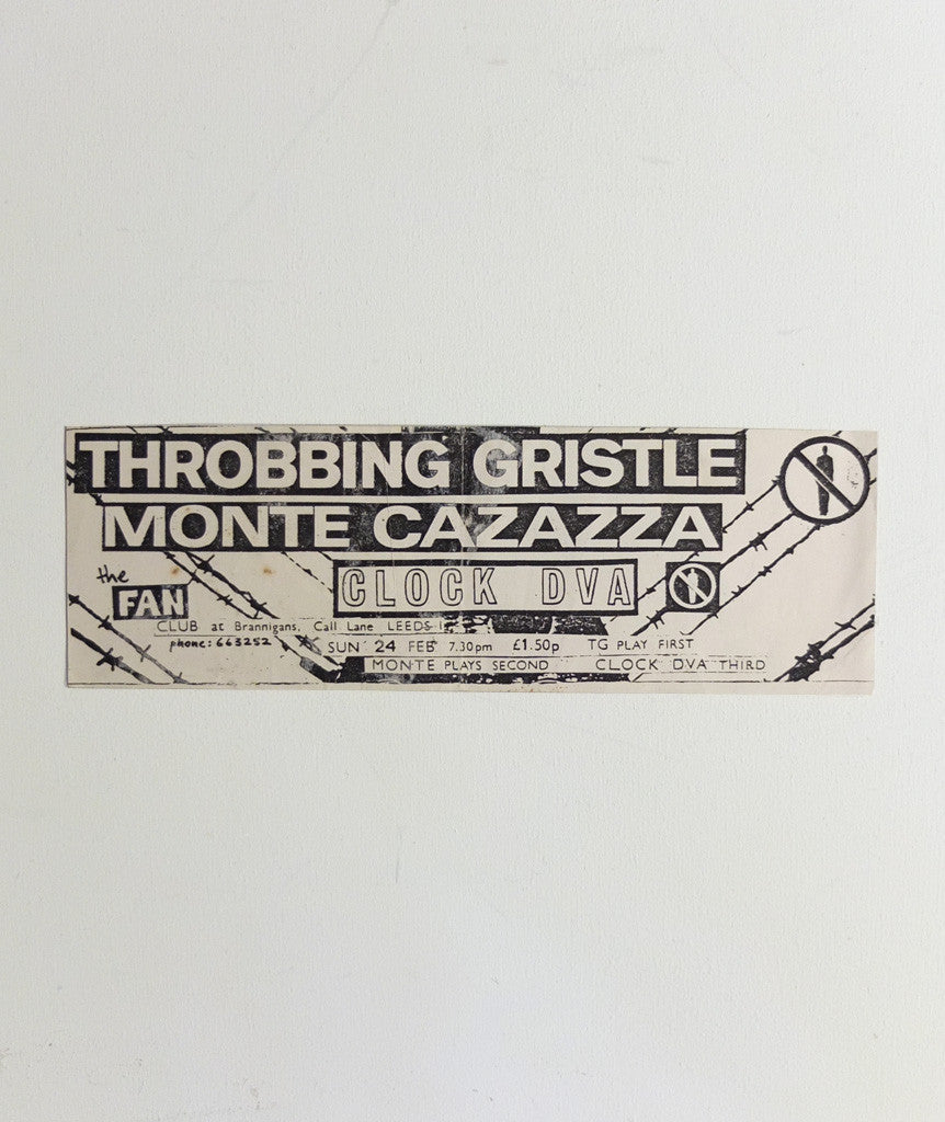 Throbbing Gristle at The Fan Club poster, 1977