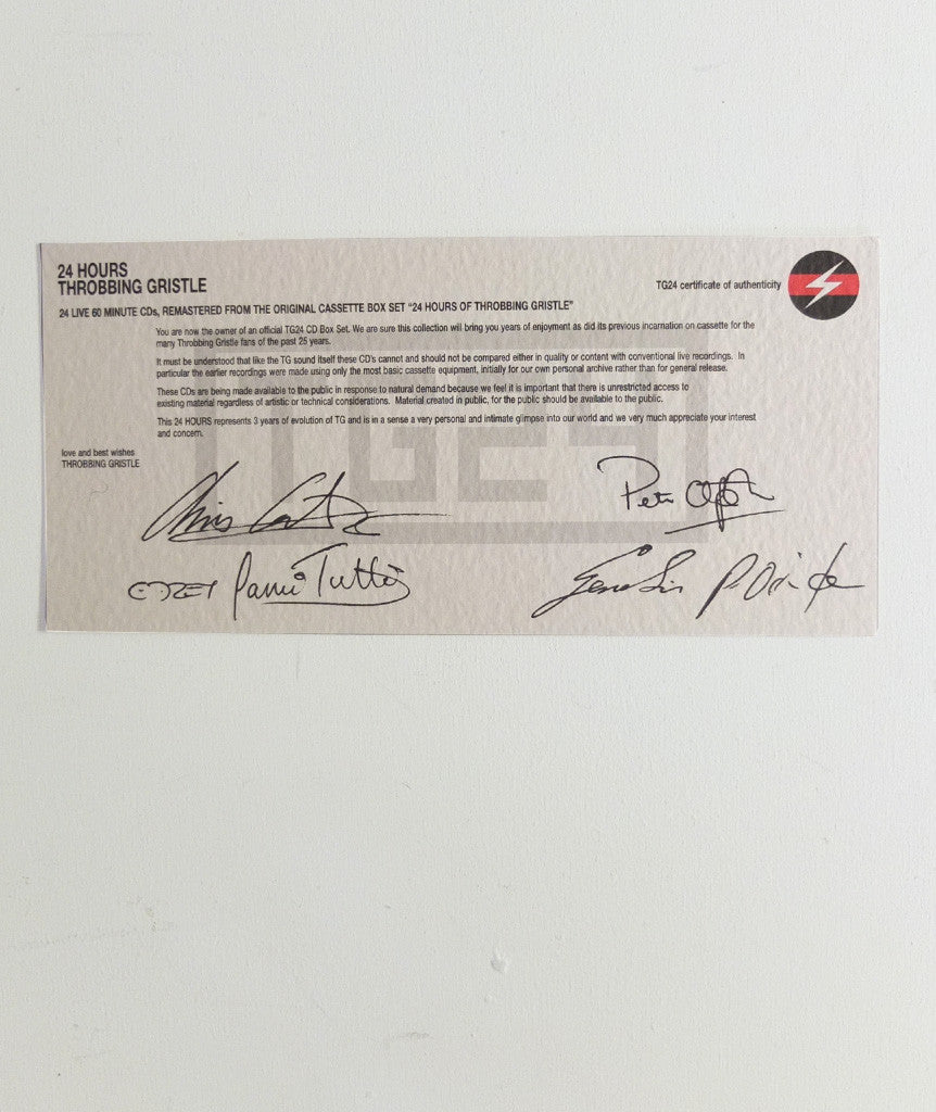 Throbbing Gristle 24hr Certificate (Signed)