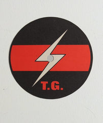 Throbbing Gristle lightning bolt label