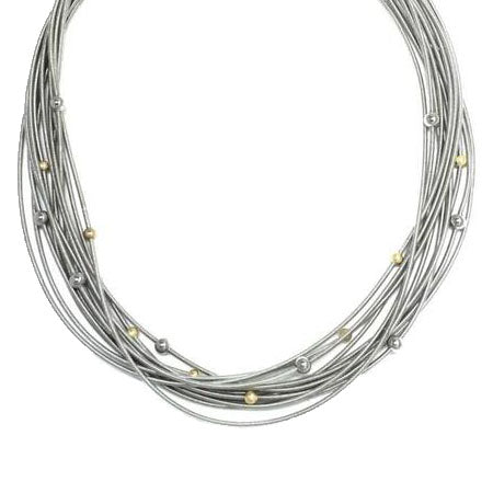 Piano Wire Necklace with Gold and Silver Beads