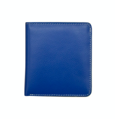 Blue and White Small Bifold Leather Wallets
