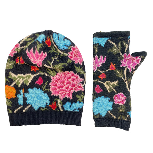 Floral Hat and Hand Warmers Set