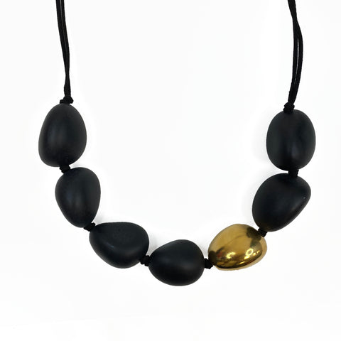 Large Black and Gold Pod Necklace