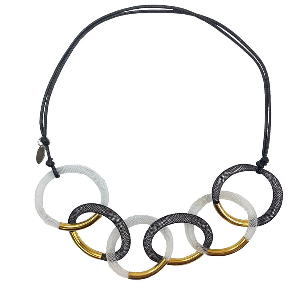 Mesh Hoops with Gold Necklace