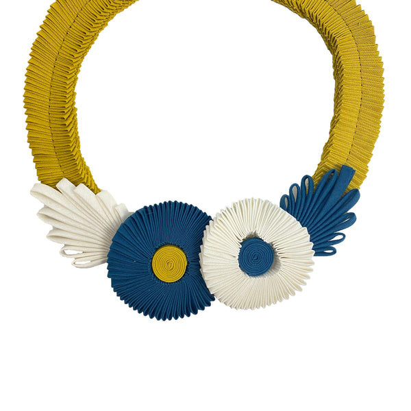 Blue and White Seam Binding Flower Necklace with Yellow Chain