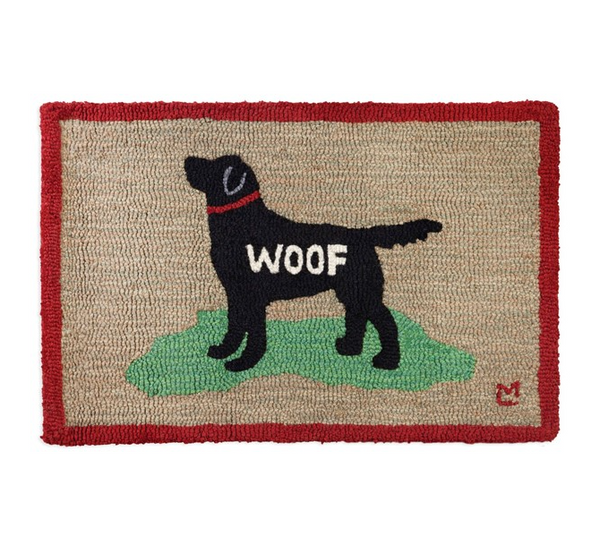 Woof Black Lab - Hooked Wool Rug