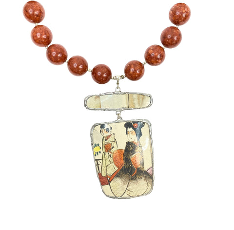 Sponge Coral Beaded Necklace with Pictorial Amulet