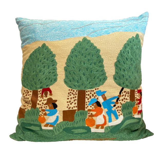 Pecan Picking Hand Embroidered Pillow