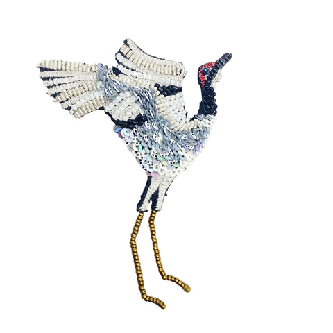 Dancing Crane Brooch Pin