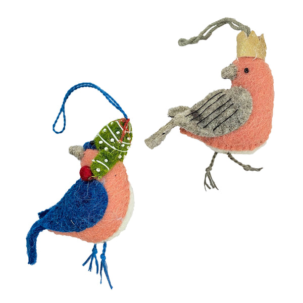 Pair of Wool Felted Bird Ornament with Embroidery Ornaments