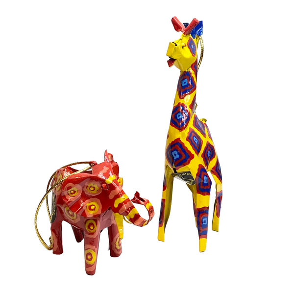Giraffe and Elephant Recycled Tin Ornaments