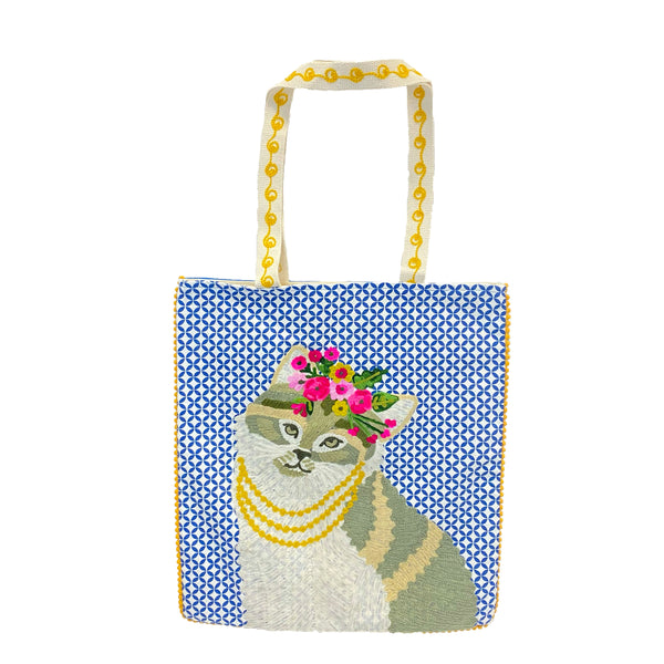 Embroidered Floral Cat Tote Bag