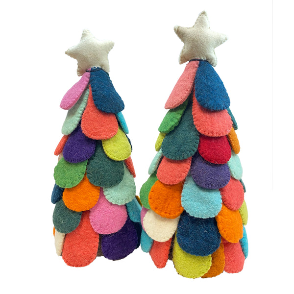 Multi Colored Wool Felted Trees
