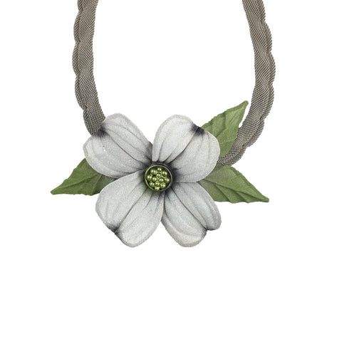Flower Metal Mesh Necklace