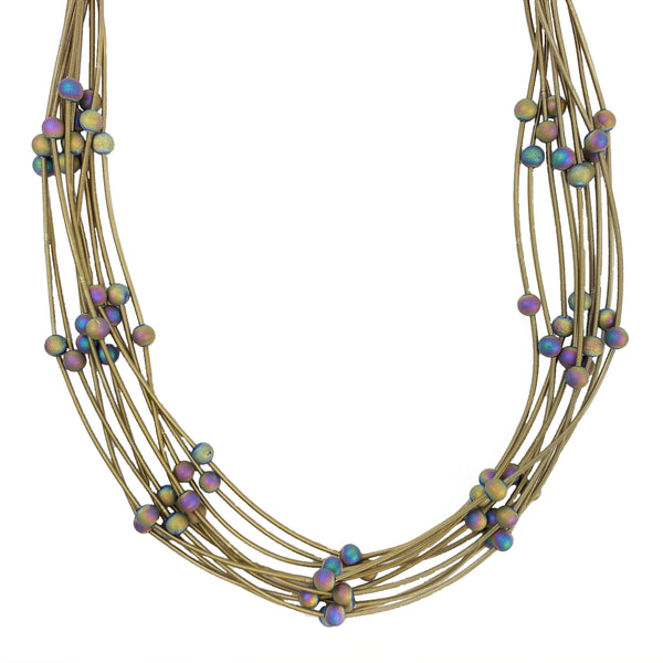 Bronze 10 Layer Silk Infused Wire Necklace with Geode Stones