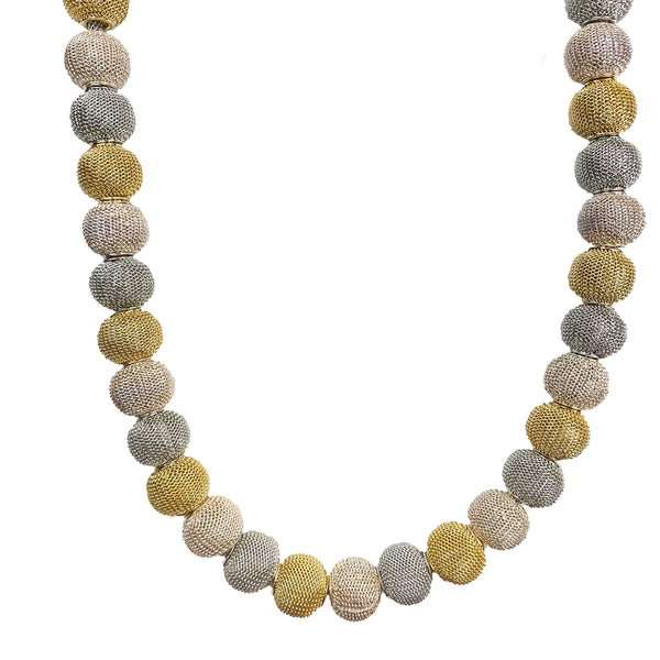 Mesh Necklace with All-Around Small Mesh Beads