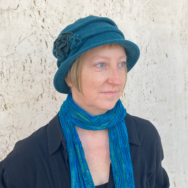 Wool Hat with Asymmetrical Flower