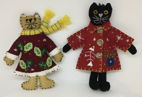 Pair of Cat Ornaments