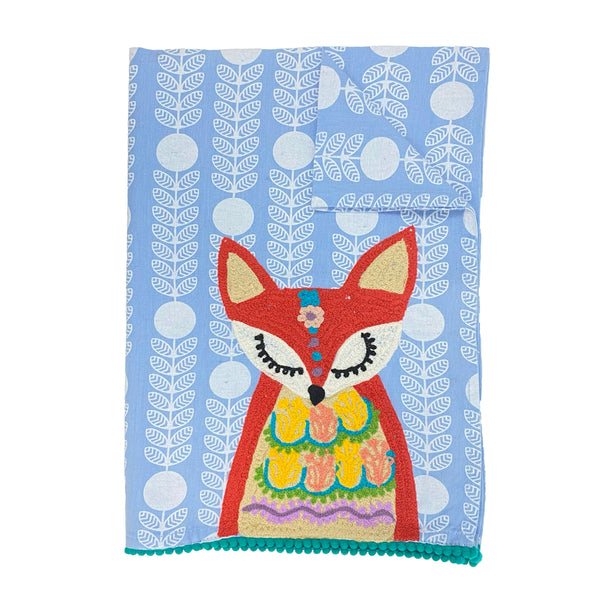 Embroidered Fox Tea Towel