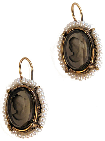 Glass Intaglio Earrings with Seed Pearls