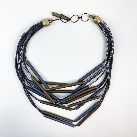 "Asymmetric multi strand ""herringbone"" necklace"