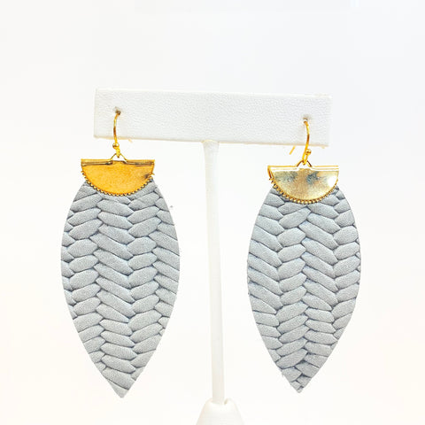 Braided Bar Leather Feather Earrings